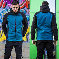 Мужская куртка с капюшоном, Soft Shell, качественная куртка Осень Весна, Черная с синим