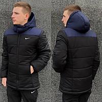 Зимняя мужская куртка с капюшоном, черная молодежная теплая стильная