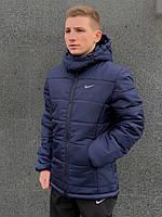 Зимняя мужская куртка с капюшоном на флисе, синяя молодежная теплая стильная