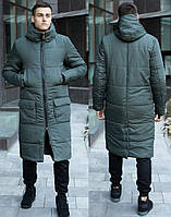 Длинная мужская зимняя куртка теплая, молодежная хаки