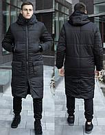 Мужская зимняя длинная куртка из европейской плащевки черная