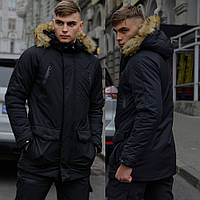 Зимняя мужская парка с мехом, черная теплая куртка