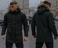 Зимняя мужская парка с мехом, хаки теплая куртка