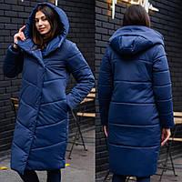 Женское зимнее стеганое пальто из плащевки, теплая стильная длинная куртка с капюшоном, синий