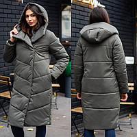 Женское зимнее стеганое пальто из плащевки, теплая стильная длинная куртка с капюшоном, хаки