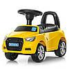 Каталка-толокар M 3147A (MP3)-6 багажник під сидінням, муз., бат., жовтий, 63,5-37-29 см.