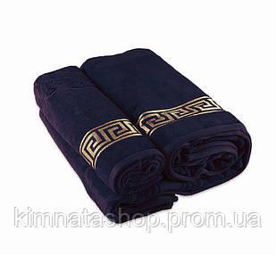 ТМ TAG Полотенце махровое Versace синее Рушник махровий бавовна