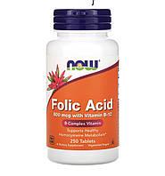 Now Foods Folic Acid 800 mcg with Vitamin B-12, 250 таблеток, фото 1