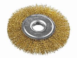 Щетка дисковая из латунированной рифленой проволоки D125*22,2 мм MASTERTOOL 19-9112
