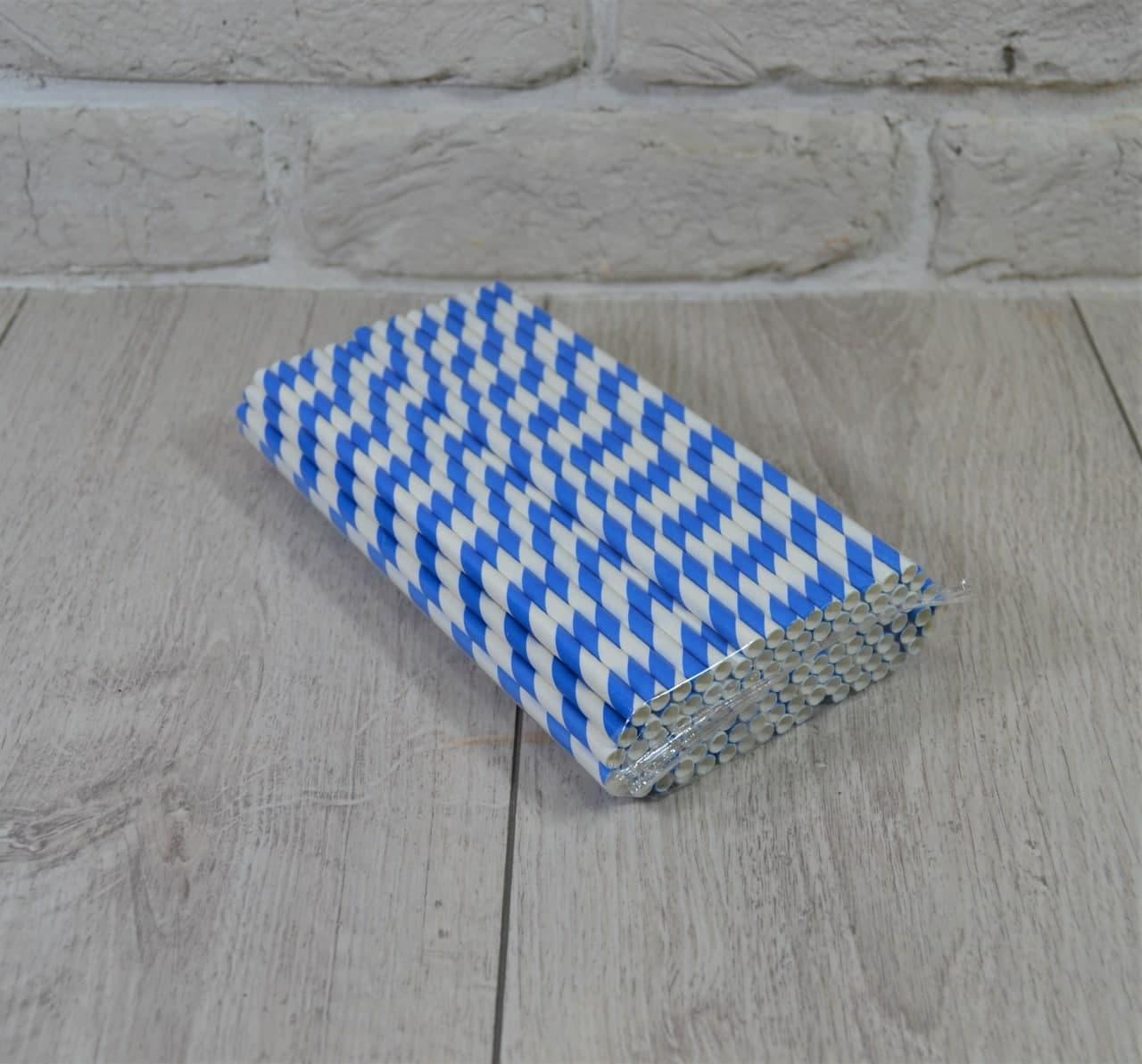 Соломка трубочка бумажная уп/100штук Синяя