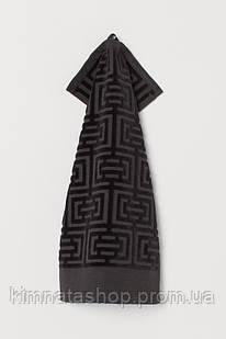 ТМ TAG Полотенце махровое Labirint черное 30х50 Рушник махровий бавовна