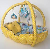 """Детский игровой развивающий коврик - Кокон гнездышко для новорожденного 2 в 1 """"Веселый зоопарк"""""""