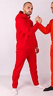 Спортивный костюм мужской на флисе, Молодежный теплый спортивный костюм, зимний, Красный