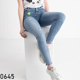 Блакитні завужені джинси жіночі з царапками New jeans 1-0645