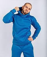 Спортивный костюм мужской на флисе, Молодежный теплый спортивный костюм, зимний, Голубой