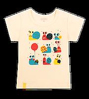 Детская летняя футболка для девочки  Обаяшка улитками с кнопочками на плече молочная кулир