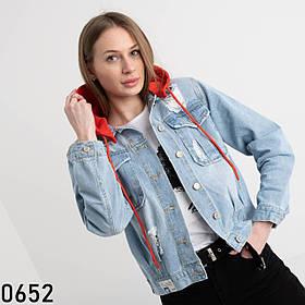 Жіноча джинсова куртка з капюшоном New jeans 1-0652