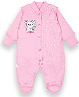 Детский комбинезон для девочки Милашки розовый с манжетой-рукавичкой интерлок