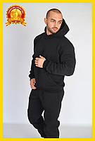Спортивный теплый костюм с начесом, Зимний спортивный костюм, Мужской повседневный костюм Черный