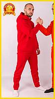 Спортивный теплый костюм с начесом, Зимний спортивный костюм, Мужской повседневный костюм Красный