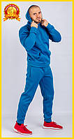 Спортивный теплый костюм с начесом, Зимний спортивный костюм, Мужской повседневный костюм Голубой