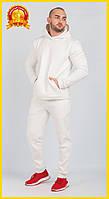 Спортивный теплый костюм с начесом, Зимний спортивный костюм, Мужской повседневный костюм Молочный