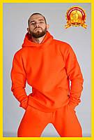 Спортивный теплый костюм с начесом, Зимний спортивный костюм, Мужской повседневный костюм Оранжевый