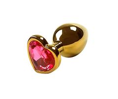 Металева анальна пробка Серце M (3.4, 8.0, Метал, Золото)