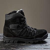 Ботинки тактические женские высокие зимние на меху черные нубук модель Варвар