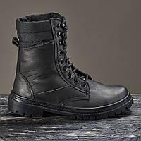 Берцы ботинки женские высокие черные натуральная кожа на меху зимние теплые модель Скорпион