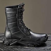 Берцы ботинки женские черные кожаные натуральные на меху овчины зимние теплые модель EVOLUTION