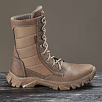 Берцы ботинки женские кожаные натуральные с мехом зимние теплые цвет койот модель EVOLUTION