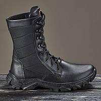 Берцы ботинки женские черные натуральная кожа мех из овчины зимние теплые модель EVOLUTION