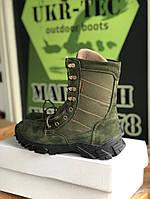Берцы ботинки женские замшевые натуральные с мехом зимние теплые цвет олива модель EVOLUTION