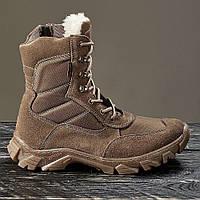 Берцы ботинки женские замшевые натуральные с мехом овчины зимние теплые цвет койот