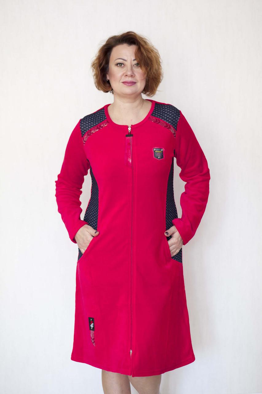 Красный велюровый халат женский