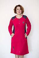 Красный велюровый халат женский, фото 1