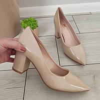 Туфли женские лаковые бежевые на каблуке 38
