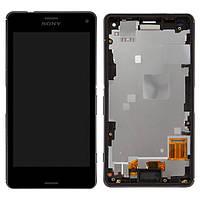 Дисплей (LCD) Sony D5803 Xperia Z3 Compact | D5833 з тачскріном і рамкою, чорний