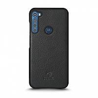 Кожаная накладка Stenk Cover для Motorola One Fusion Plus Чёрная