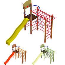 """Гімнастичний комплекс """"Тарзан"""" з пластиковою гіркою DIO670.3 для дитячого і спортивного майданчика."""