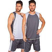 Форма баскетбольная мужская двусторонняя однослойная Lingo серая LD-8802, 180-185 см
