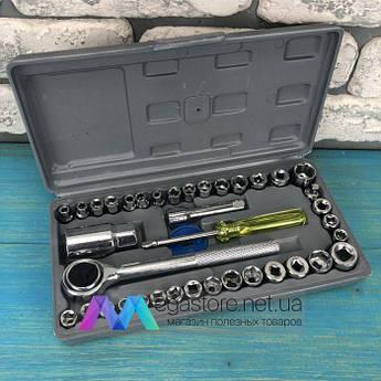 Набор инструментов 40 в 1 Aiwa для авто дома торцевых головок в чемодане с трещоткой универсальный сталь