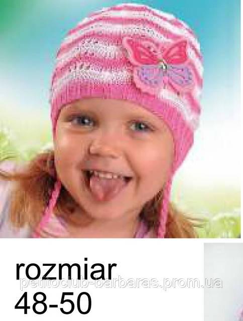 Шапка для девочки с завязками Бабочка  (Польша)