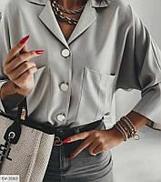 Женская блузка с воротником серая SKL11-280082