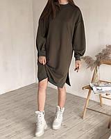Платье-свитшот удлиненное с рукавами на манжетах хаки