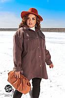 Кашемировое пальто-рубашка 52-60/хаки