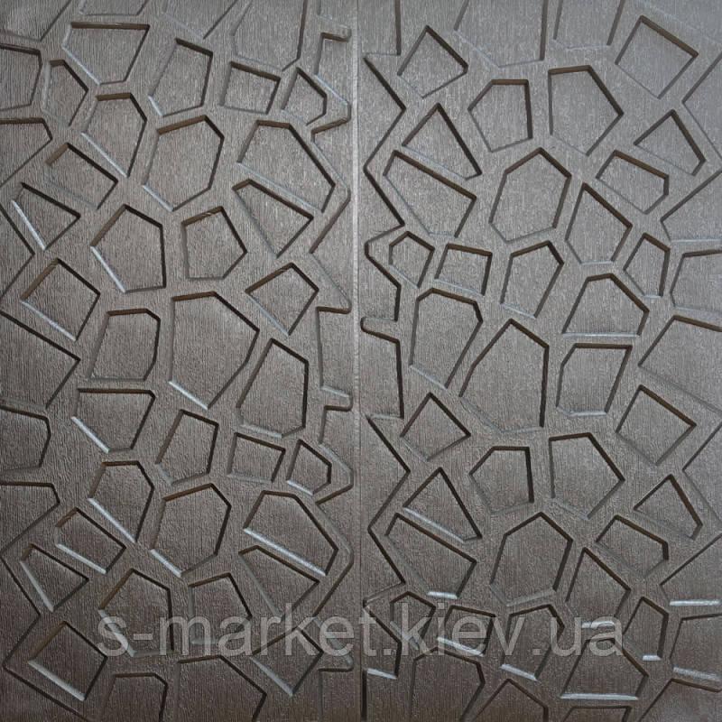 Самоклеюча декоративна стельова 3D панель срібна 700х700х8мм