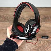 Игровые наушники с микрофоном TUCCI G1000 геймерские для компьютера и подсветкой пс4 ps4 xbox one 360 красные