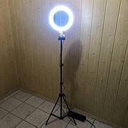Кольцевая лампа с зеркалом 26 см со штативом на 2м лампа для селфи лампа для тик тока розовая